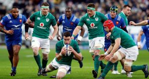 Ireland's James Ryan in action during the Six Nations  match against France at Stade de France. Photograph: Regis Duvignau/Reuters