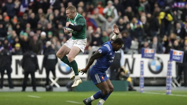 Keith Earls claims Sexton's cross kick in the closing stages. Photograph: Getty Images