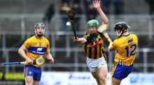 Kilkenny's Martin Keoghan attempts to block Clare's David Reidy during the Allianz Hurling League Division 1A match at  Nowlan Park in Kilkenny. Photograph: Ken Sutton/Inpho