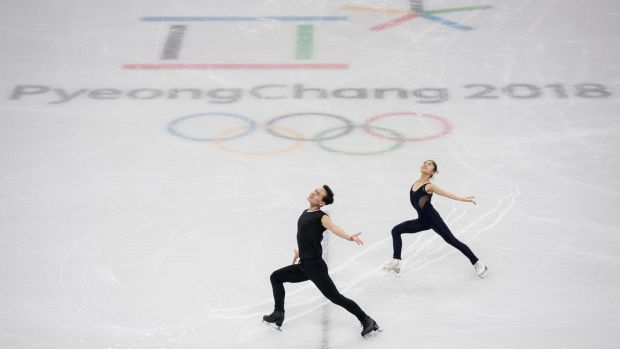 Figure skaters Kim Ju-Sik and Ryom Tae-Ok of North Korea at the Gangneung Ice Arena. Photograph: Ed Jones/AFP/Getty Images