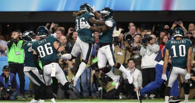 f32c8b50f27 Philadelphia Eagles' Corey Clement celebrates scoring a touchdown with Jay  Ajayi during Super Bowl LII
