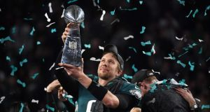 Philadelphia Eagles quarterback Nick Foles celebrates after winning the Super Bowl. Photograph: Getty Images