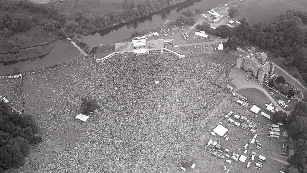 Aerial view of the 80,000-strong crowd at the Rolling Stones in Slane, July 1982. Photograph: Tom Lawlor