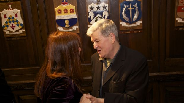 Rachel Hagerty and Philip Casey at the celebration of his his 65th birthday and Selected Poems at the Mansion House. Photograph: Sara Freund