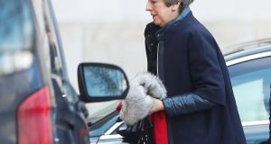 Theresa May is the stuffed remnant of a once-optimistic prime minister, helpless in the midst of anarchic cacophony. Photograph: Hannah Mckay/Reuters