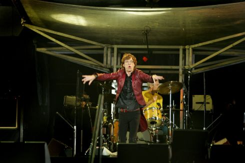 Mick Jagger striking a pose on stage at Slane