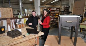 Adrienne Harrington, CEO of The Ludgate Hub and Aodh O'Donnell Managing Director of O'Donnell Design pictured at the O'Donnell Design factory in Skibbereen, West Cork.Pic Daragh Mc Sweeney/Provision
