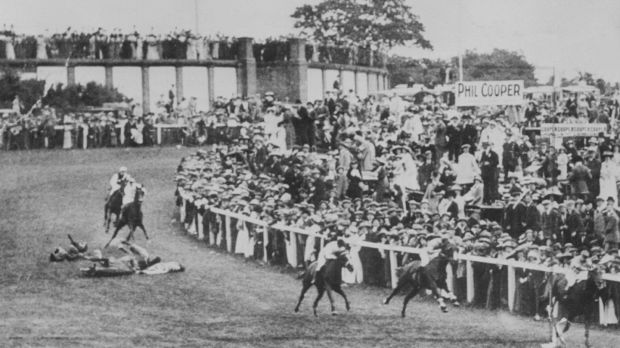 Suffragette Emily Wilding Davison throwing herself under the King George V's horse Anmer at the Epsom Derby on June 4th, 1913. File photograph: PA