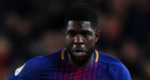 Barcelona's Samuel Umtiti became embroiled in a heated argument with Sergio Garcia during the Catalan derby on Sunday. Photograph:  David Ramos/Getty Images