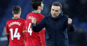 "Swansea City manager Carlos Carvalhal: ""We will not take risks with the players away from our main competition, but be absolutely sure we will pick a strong team – one that will fight and try to win."" Photograph:  Reuters/Darren Staples"