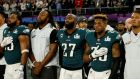 Malcolm Jenkins (centre) of the Philadelphia Eagles during the US national anthem before the Super Bowl in Minnesota. Photograph:  Reuters