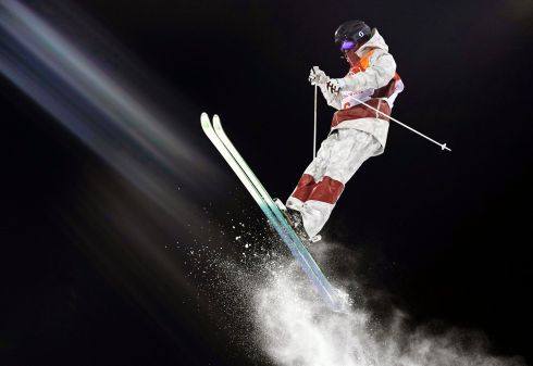PYEONGCHANG OLYMPICS: Marc-Antoine Gagnon of Canada in action during the men's Moguls training session in the Phoenix Snow Park, which will host the Freestyle Skiing and Snowboard events of the PyeongChang 2018 Olympic Games in South Korea. Photograph: Sergei Ilnitsky/EPA
