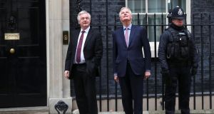 Brexit secretary David Davis welcomes the European Union's chief Brexit negotiator Michel Barnier to Downing Street. Photograph: Hannah Mckay/Reuters