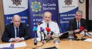 Det Supt Declan Daly, assistant commissioner John O'Driscoll, Chief Supt Michael Daly during a media briefing on Operation Ketch in  Dublin.  Photograph: Gareth Chaney Collins