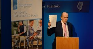 Minister for Communications Denis Naughten announcing details of the National Broadband Plan last April. Photograph: Cyril Byrne