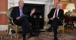 Michel Barnier, EU chief negotiator, left, and David Davis, UK Brexit secretary in Downing Street on Monday. Photograph: Bloomberg