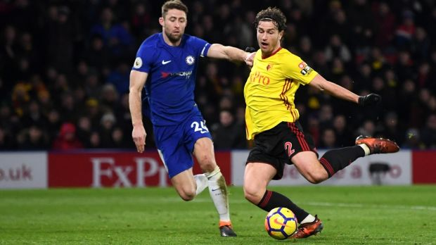Daryl Janmaat scores Watford's second goal during the Premier League match against Chelsea at Vicarage Road. Photograph: Michael Regan/Getty Images