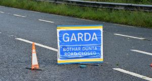 The road remains closed this morning to allow Garda forensic crash investigators carry out an examination of the scene. Photograph: Alan Betson / The Irish Times