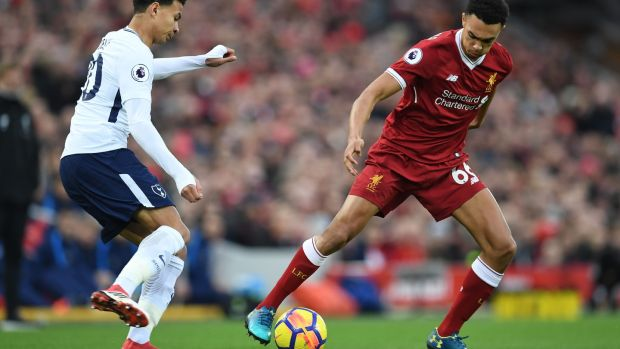 Trent Alexander-Arnold in action against Tottenham Hotspur at Anfield. Photograph: Getty Images