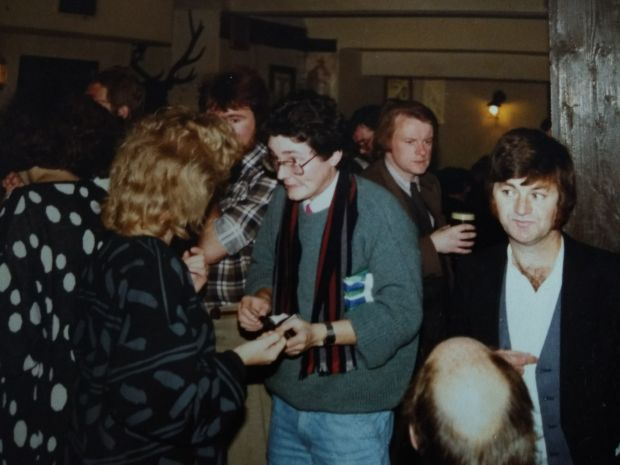 Philip Casey with a very young Peter Sirr in glasses at a Graph Magazine launch in 1986