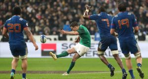 Ireland's Johnny Sexton scores the winning drop goal at the Stade de France. Photograph: PA