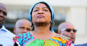 Baleka Mbete, speaker of the national assembly, announces that the state of the nation address, due to be delivered by president Jacob Zuma, has been postponed, in Johannesburg, South Africa. Photograph: Sumaya Hisham/Reuters