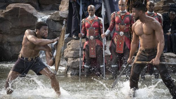 Chadwick Boseman as T'Challa and Michael B Jordan as Erik Killmonger. Photograph: Matt Kennedy/Marvel Studios