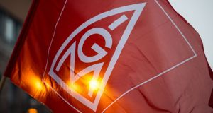 An IG Metall flag. The two-year agreement struck between IG Metall and the Südwestmetall employers' federation covers 900,000 workers in the metals and electrical industries in Baden-Württemberg, home to industrial group such as Daimler, the carmaker, and Robert Bosch.