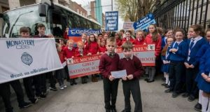 Children from  schools in Tipperary gather at the Department of Education in 2017 to protest at their 'exclusion' from the Deis scheme. File photograph: Brenda Fitzsimons