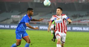 ATK's Robbie Keane vies for the ball with FC Goa's Narayan Das during an Indian Super League (ISL) football match at the Vivekananda Yuba Bharati Krirangan Stadium in Kolkata on January 3. 2018. Photograph: Dibyangshu Sarkar/AFP/Getty Images