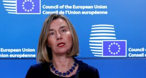 "Federica Mogherini: ""The next months will be not only intense but also crucial to make sure that this historic and unique opportunity is seized."" Photograph: Yves Herman/Reuters"