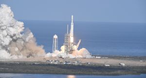 The SpaceX Falcon Heavy takes off from Pad 39A at the Kennedy Space Center in Florida,