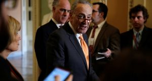 Senate minority leader Chuck Schumer speaks during a news conference on Capitol Hill in Washington on Tuesday. Photograph: Joshua Roberts/Reuters