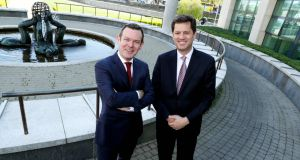 Smurfit Kappa chief financial officer Ken Bowles with chief executive Tony Smurfit. Photograph: Maxwells