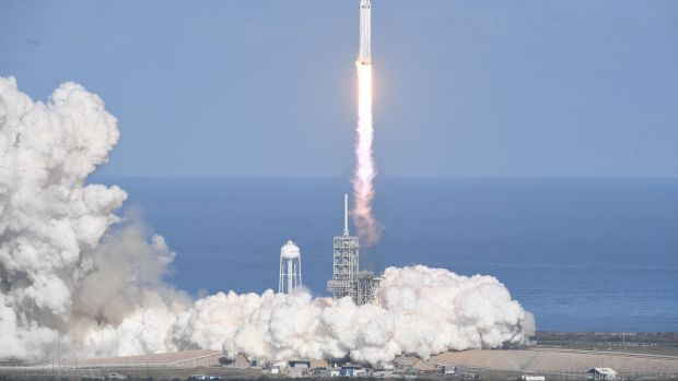Falcon Heavy takes off from Pad 39A at the Kennedy Space Center in Florida on Tuesday. Photograph: AFP/Jim Watson/Getty
