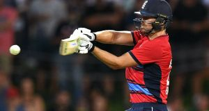 England batsman Dawid Malan attempts to pull a delivery from Australia's Andrew Tye during their Twenty20 cricket match at Bellerive Oval in Hobart. Photograph: Getty Images