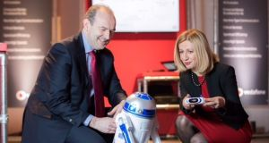 John Griffin, head of Ericsson Ireland, and Madalina Suceveanu, chief technology officer at Vodafone Ireland, demonstrated 5G speeds of the future at an immersive exhibition at the Douglas Hyde Gallery