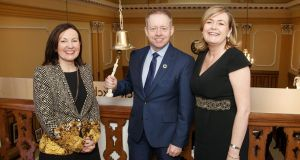 Bríd O'Connell, chief executive Guaranteed Irish, Ciarán Cannon, Minister of State at the Department of Trade, and Deirdre Somers, chief executive of the Irish Stock Exchange at the launch of 'Guranteed Irish Month' at the Irish Stock Exchange . Photograph: Marc O'Sullivan