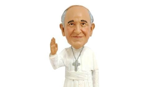 At the last World Meeting of Families event held in Philadelphia in 2015, merchandise included a pope doll for $20, a life-sized cutout of Francis for $160 and a papal bobblehead.