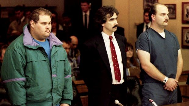 Shawn Eric Eckardt and fellow defendent Derrick Smith are joined by Smith's attorney Robert Goffredi as they face arraignment in 1994. Photograph: Getty Images
