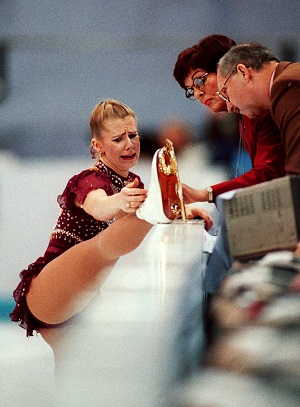 A teary Tonya Harding appeals to judges to skate her whole routine again because her boot lace broke at the 1994 Lillehammer Olympics. Photograph: Barton Silverman/The New York Times