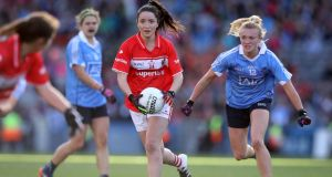 Cork's Eimear Scally  continues to mix speed with delightful accuracy – her dinky finish against Monaghan has become the must-see women's football video of the week. Photograph: Ryan Byrne/Inpho