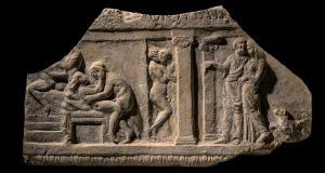 A 2,000-year-old Roman terracotta plaque depicting a brothel scene