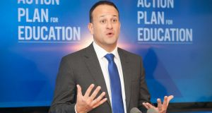 Taoiseach Leo Varadkar  at St Audeon's National School, Cook Street, Dublin: learning languages to be encouraged. Photograph: Gareth Chaney/Collins