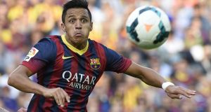 Alexis Sanchez pictured during his time with Barcelona. Photograph: Lluis Gene/AFP/Getty Images