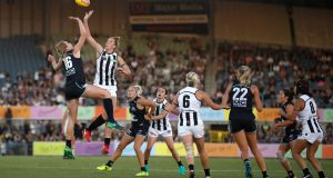 Action from the 2018 AFLW Round 1 match between the Carlton Blues and the Collingwood Magpies at Ikon Park  in Melbourne, Australia. Photograph:  Michael Willson/AFL Media/Getty
