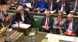 Screengrab from UK's Parliamentary Recording Unit footage showing British prime minister Theresa May pointing towards Boris Johnson. Photograph: AFP Photo/PRU