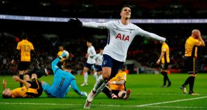 Tottenham Hotspur's Erik Lamela  celebrates after scoring their second goal during the English FA Cup fourth-round replay against Newport County at Wembley Stadium. Photograph:  Ian Kington/AFP