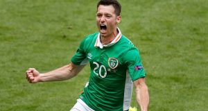 Republic of Ireland's Wes Hoolahan celebrates after scoring the opening goal during the Euro 2016  match between Ireland and Sweden at the Stade de France.