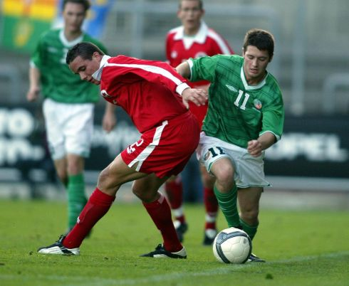 Playing against Switzerland in an under-21 international in October 2003. Photograph: Andrew Paton